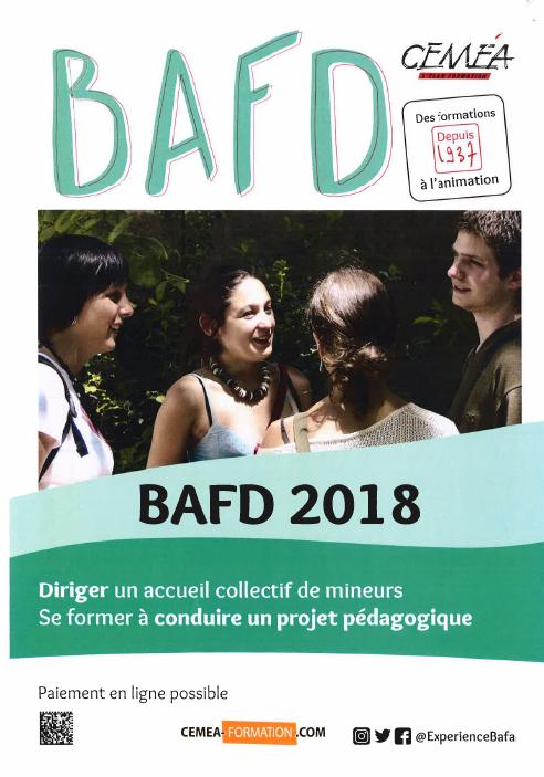 Calendrier BAFD 2018 à télécharger.